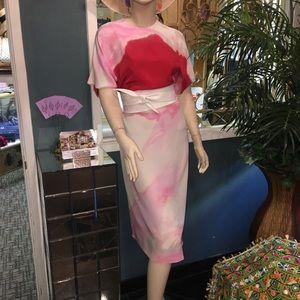 MS MIN PRINTED SILK DRESS W/ WRAP BELT